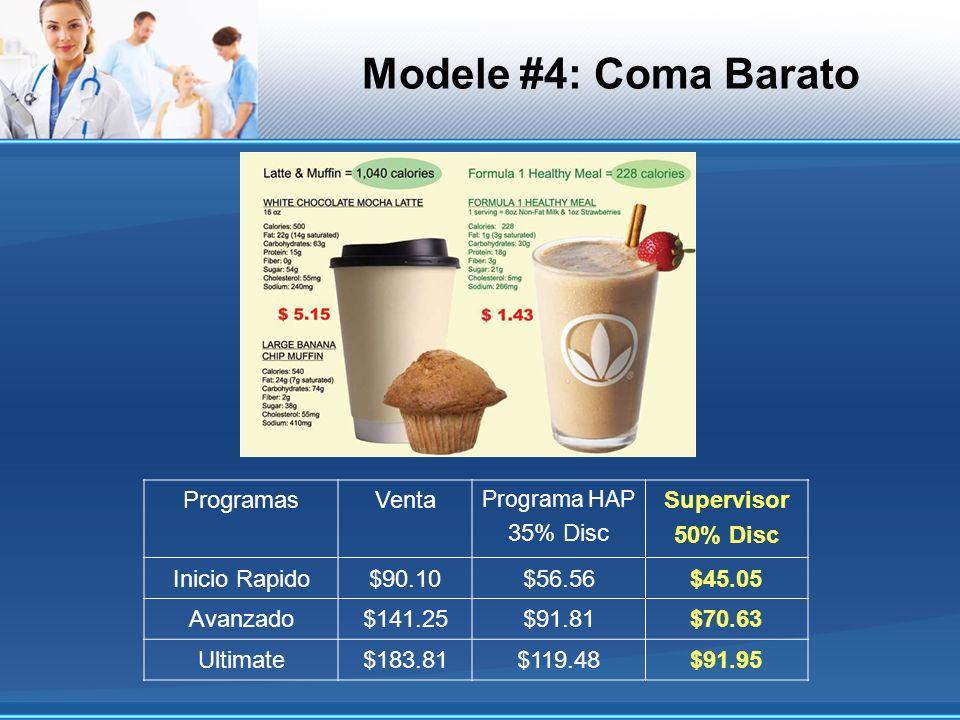 Modele #4: Coma Barato Programas Venta 35% Disc Supervisor 50% Disc