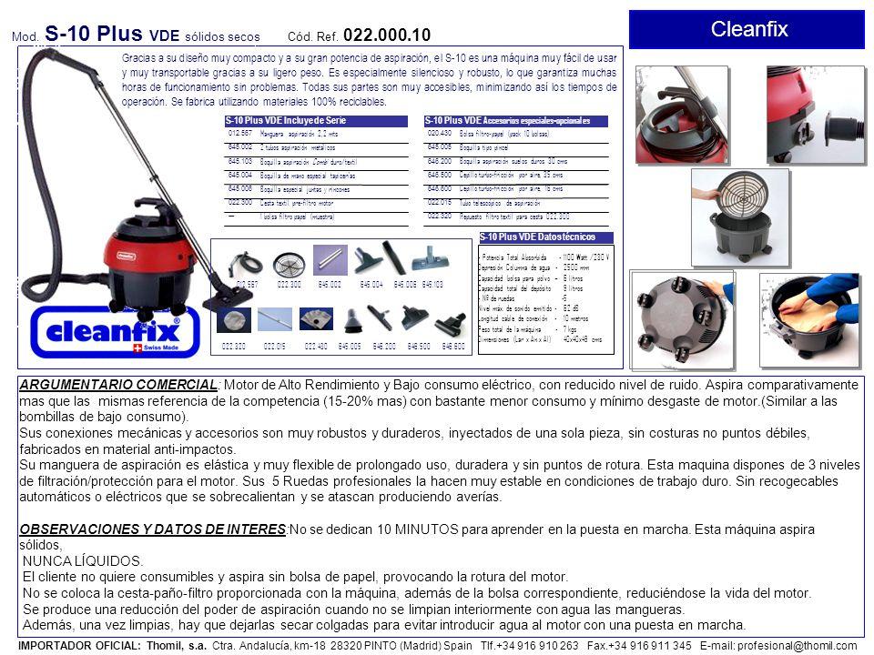 Cleanfix Mod. S-10 Plus VDE sólidos secos. Cód. Ref. 022.000.10.