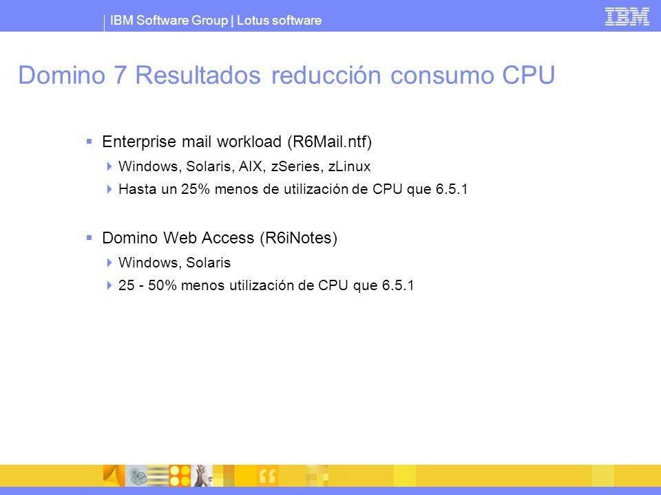 Domino 7 Resultados reducción consumo CPU