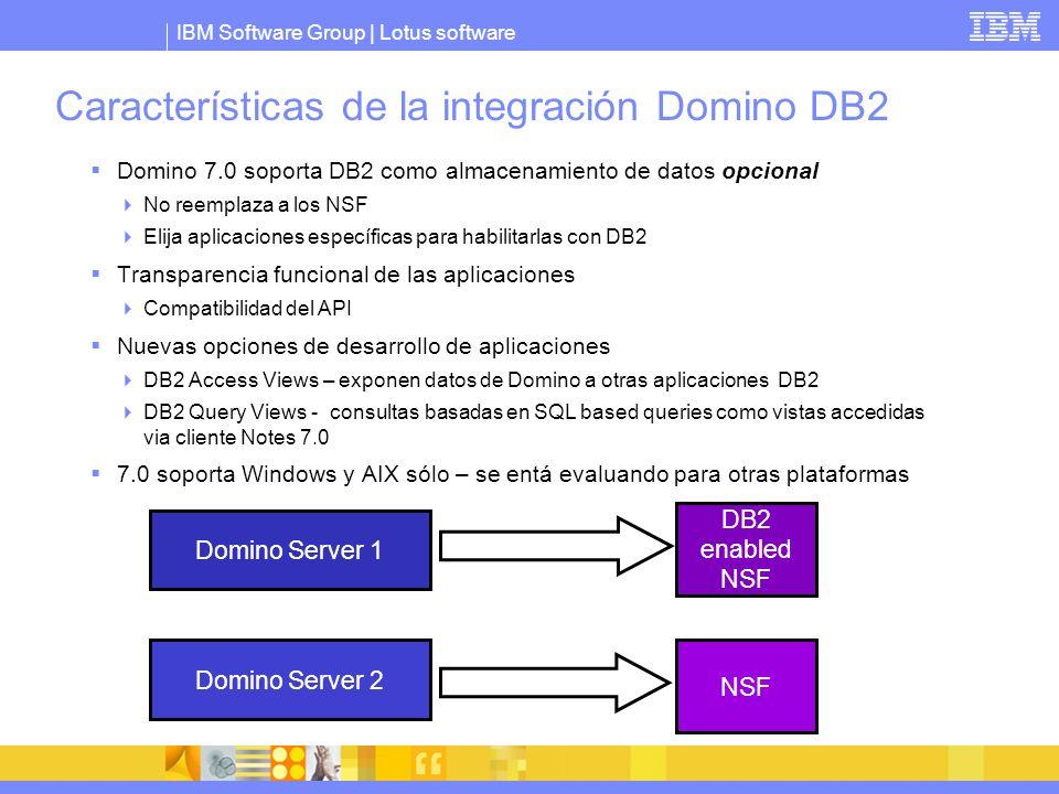 Características de la integración Domino DB2