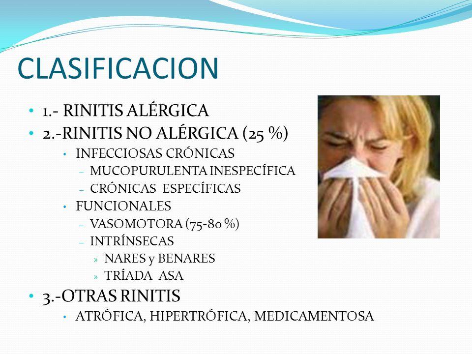 CLASIFICACION 1.- RINITIS ALÉRGICA 2.-RINITIS NO ALÉRGICA (25 %)