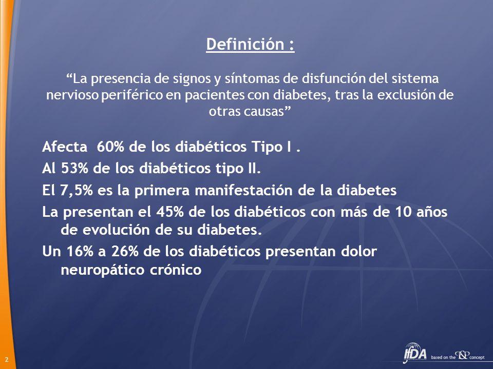 Definición : La presencia de signos y síntomas de disfunción del sistema nervioso periférico en pacientes con diabetes, tras la exclusión de otras causas
