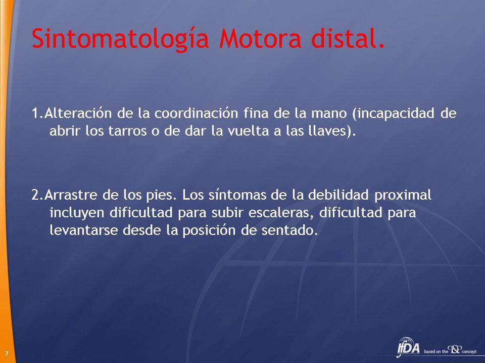 Sintomatología Motora distal.