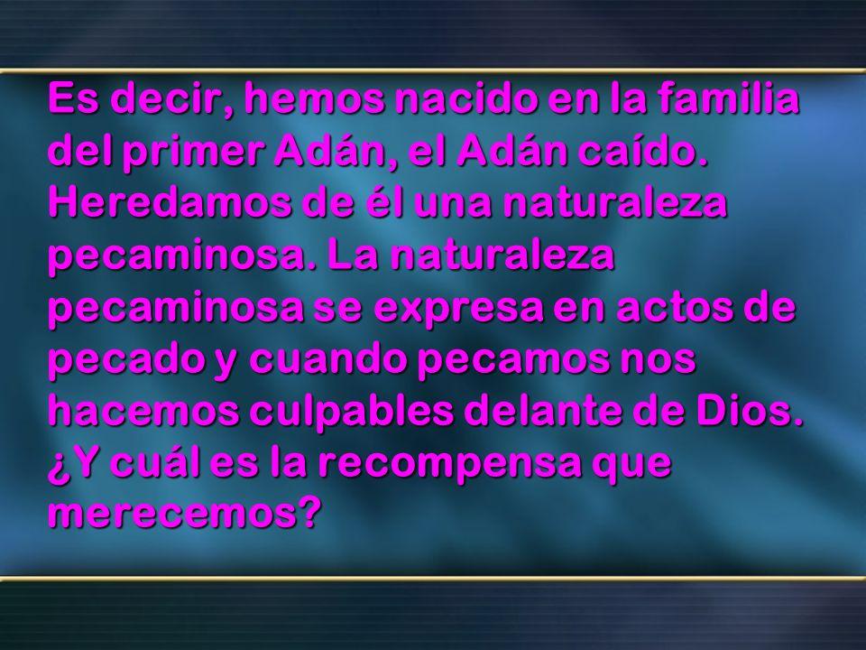 Es decir, hemos nacido en la familia del primer Adán, el Adán caído