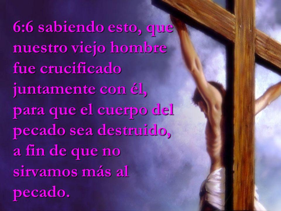 6:6 sabiendo esto, que nuestro viejo hombre fue crucificado juntamente con él, para que el cuerpo del pecado sea destruido, a fin de que no sirvamos más al pecado.