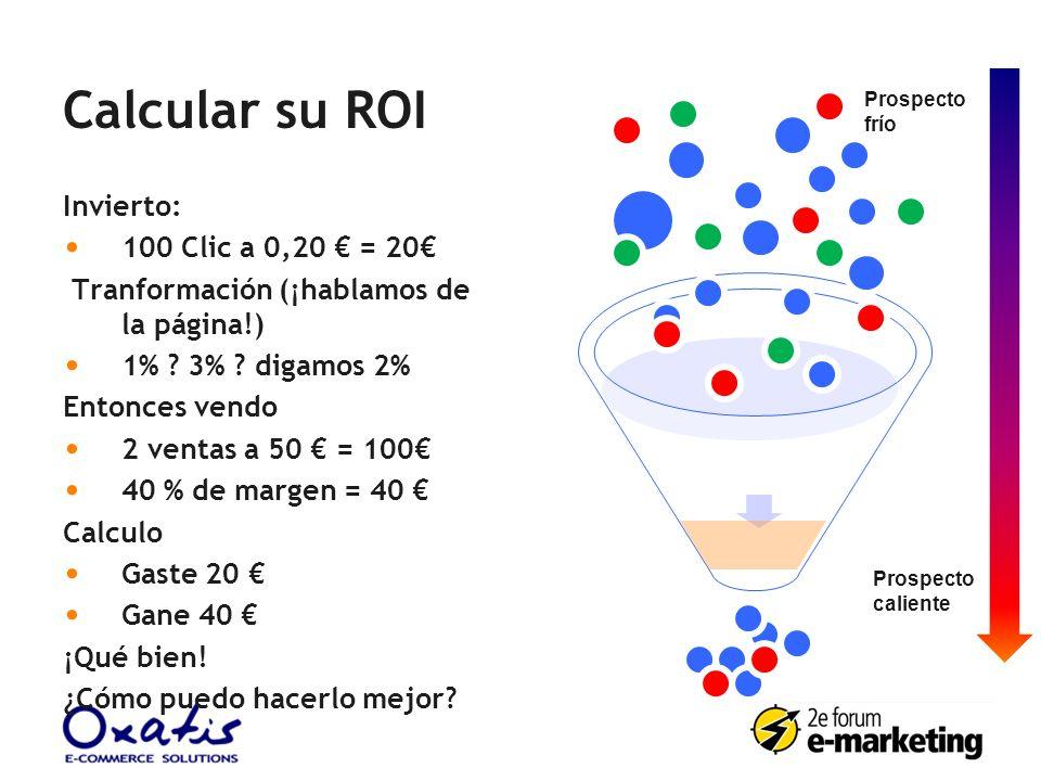 Calcular su ROI Invierto: 100 Clic a 0,20 € = 20€