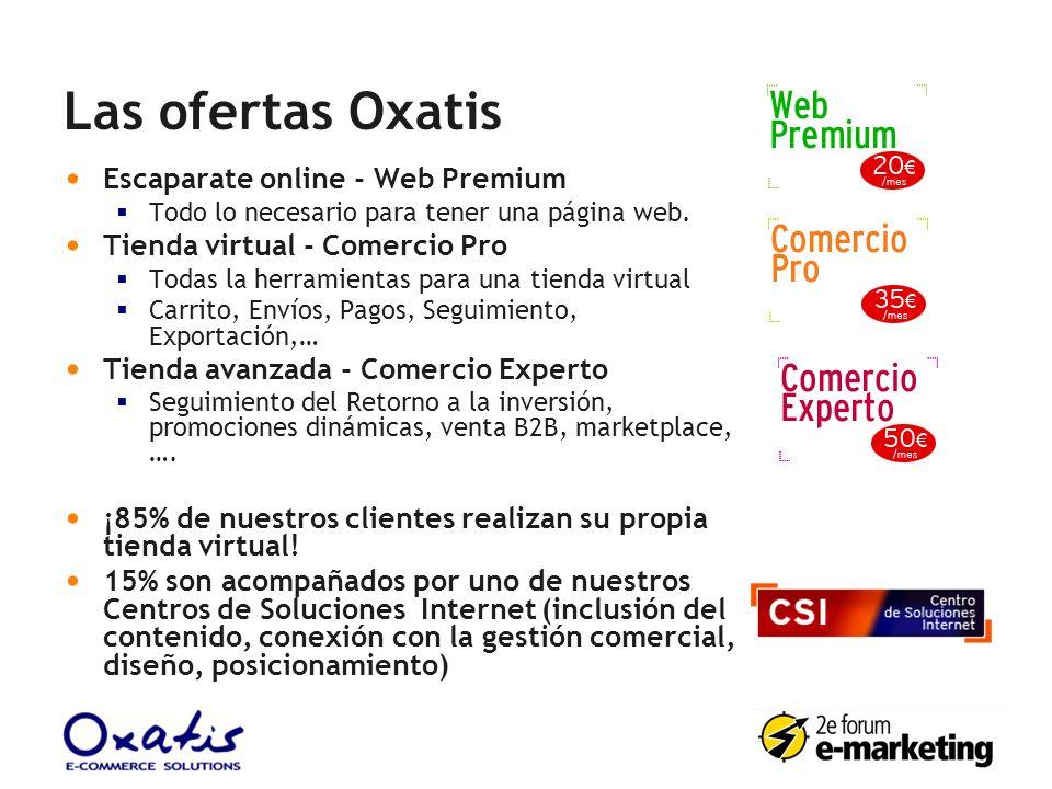 Las ofertas Oxatis Escaparate online - Web Premium