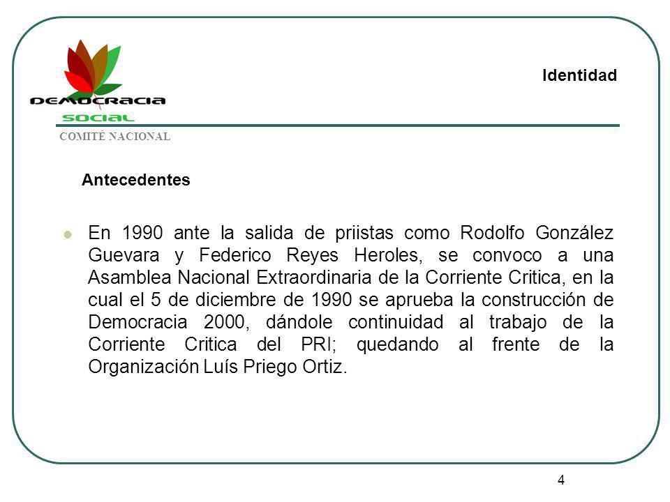 Identidad COMITÉ NACIONAL. Antecedentes.