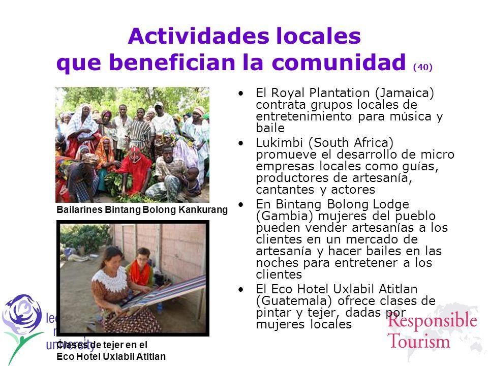 Actividades locales que benefician la comunidad (40)