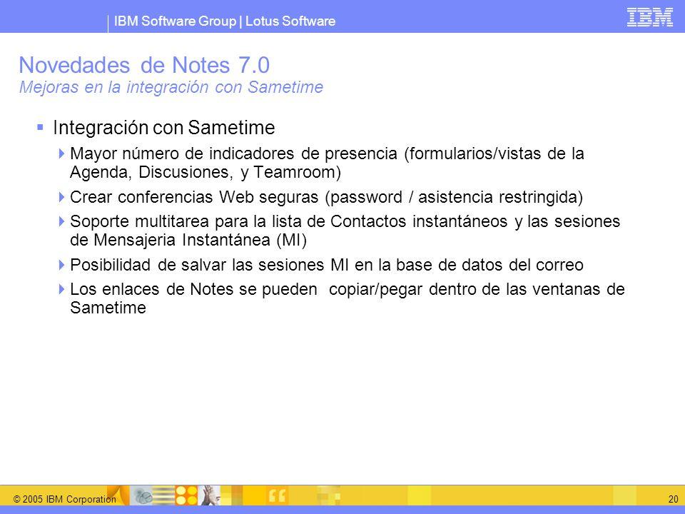 Novedades de Notes 7.0 Mejoras en la integración con Sametime