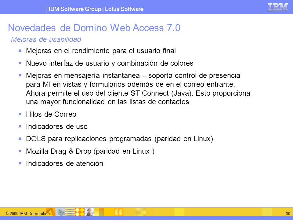 Novedades de Domino Web Access 7.0 Mejoras de usabilidad