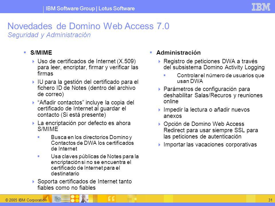 Novedades de Domino Web Access 7.0 Seguridad y Administración