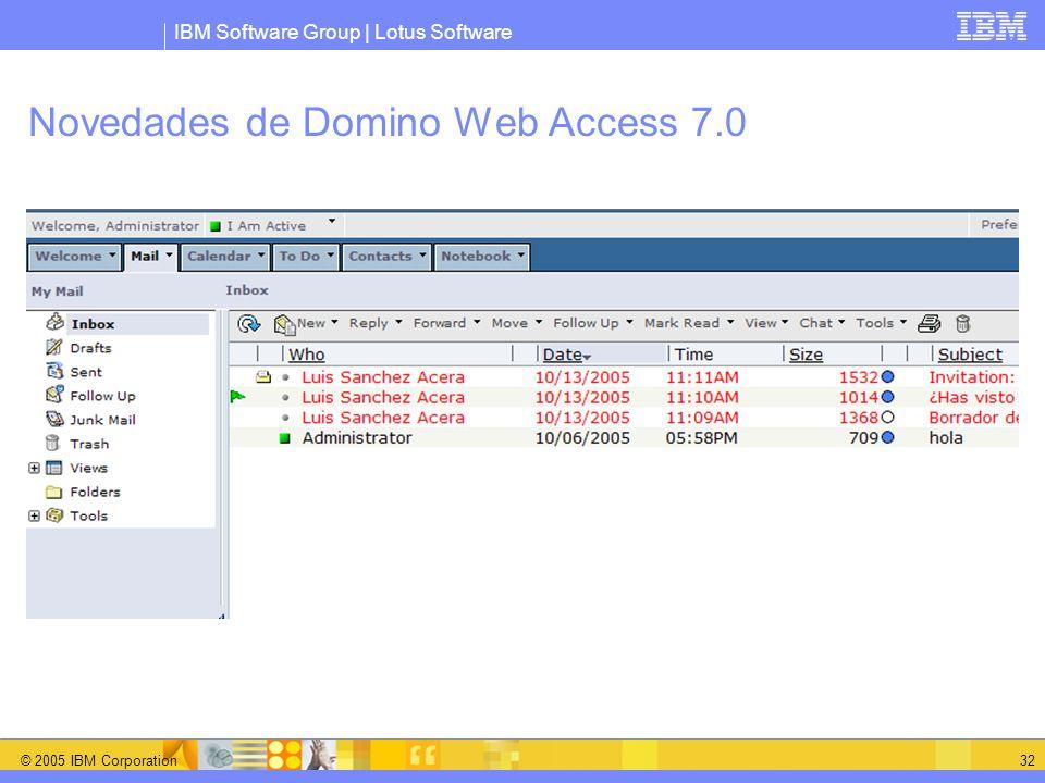 Novedades de Domino Web Access 7.0