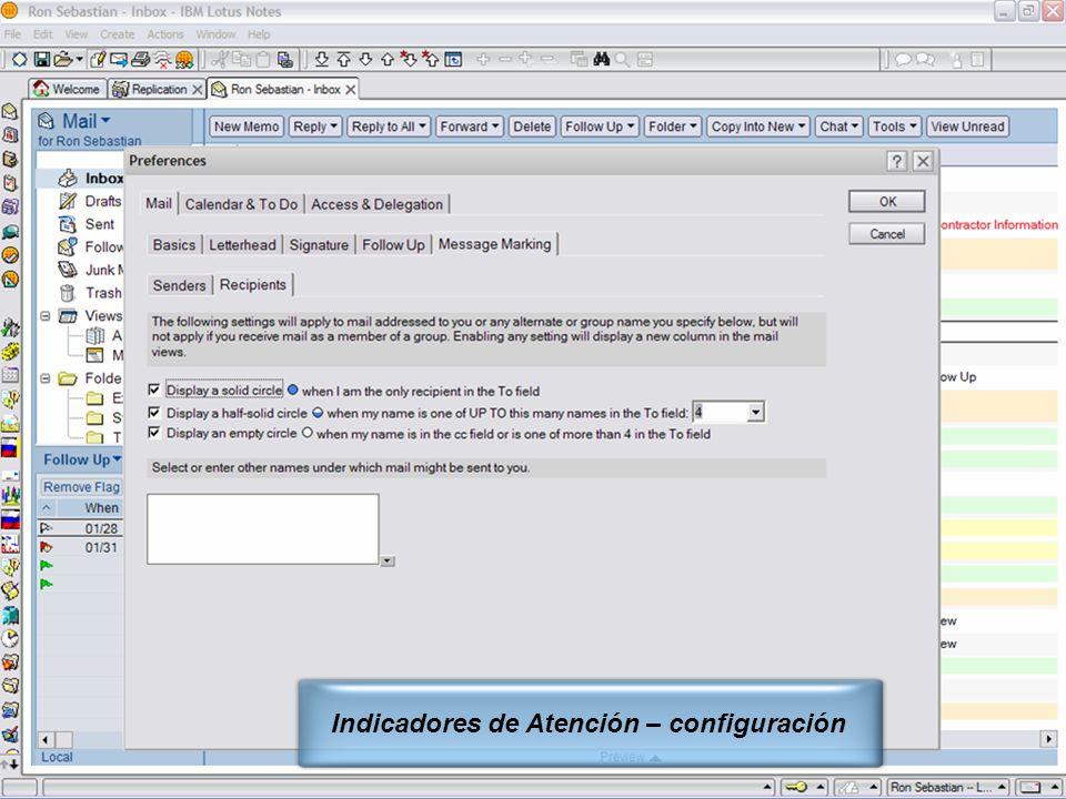 Indicadores de Atención – configuración