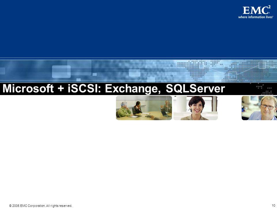 Microsoft + iSCSI: Exchange, SQLServer