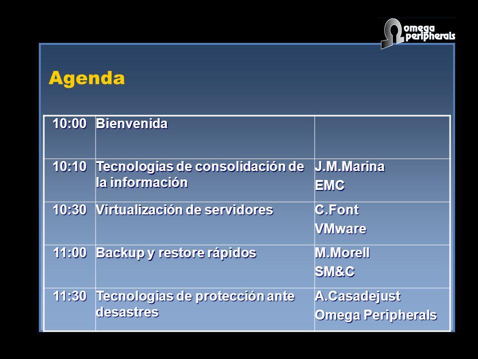Agenda10:00. Bienvenida. 10:10. Tecnologias de consolidación de la información. J.M.Marina. EMC. 10:30.
