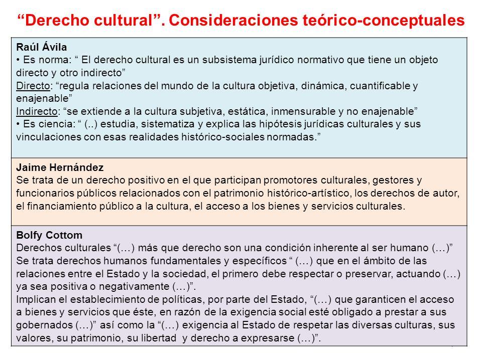Derecho cultural . Consideraciones teórico-conceptuales