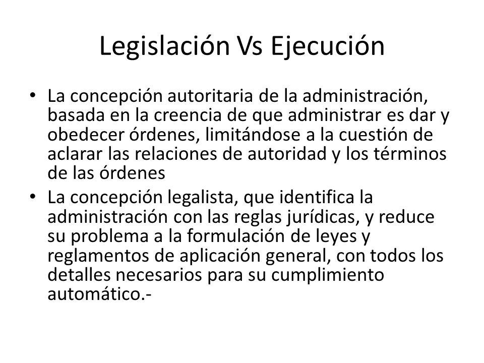 Legislación Vs Ejecución