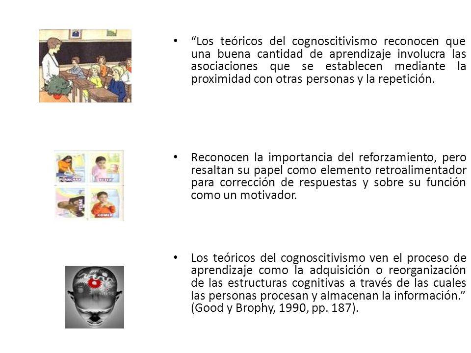 Los teóricos del cognoscitivismo reconocen que una buena cantidad de aprendizaje involucra las asociaciones que se establecen mediante la proximidad con otras personas y la repetición.
