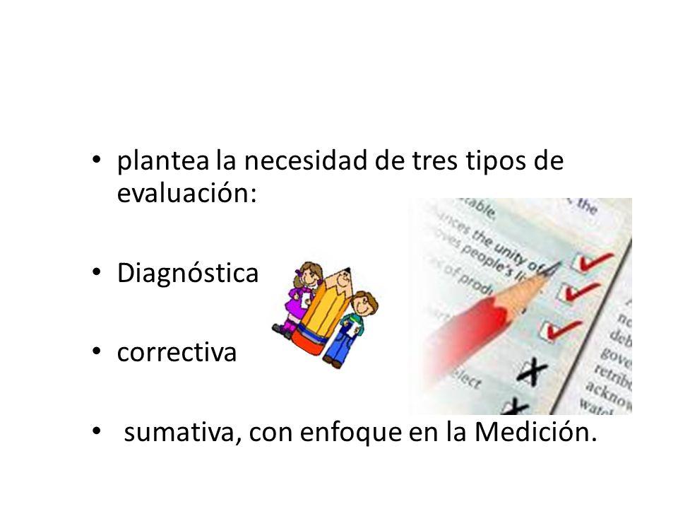 plantea la necesidad de tres tipos de evaluación: