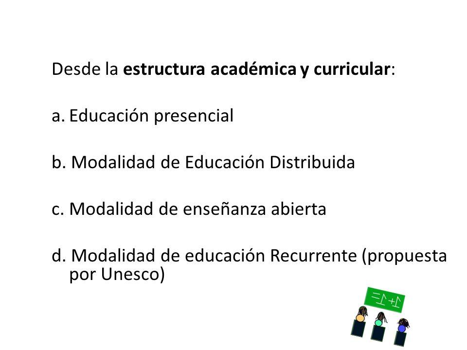 Desde la estructura académica y curricular:
