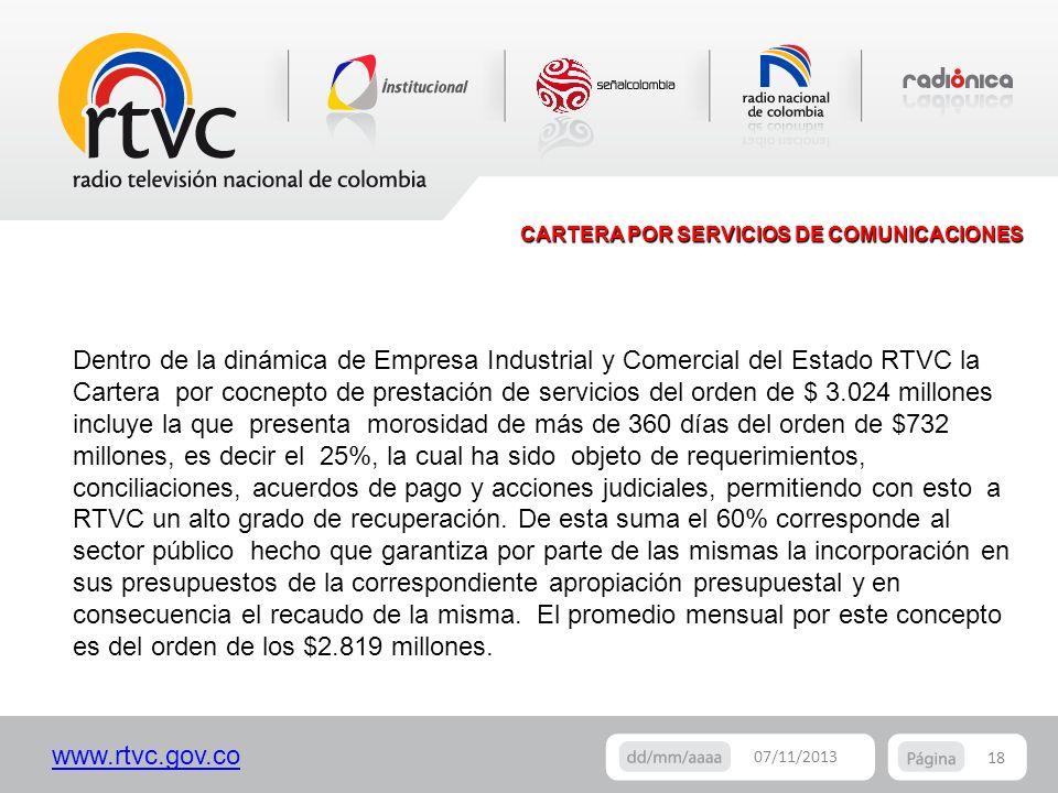 CARTERA POR SERVICIOS DE COMUNICACIONES