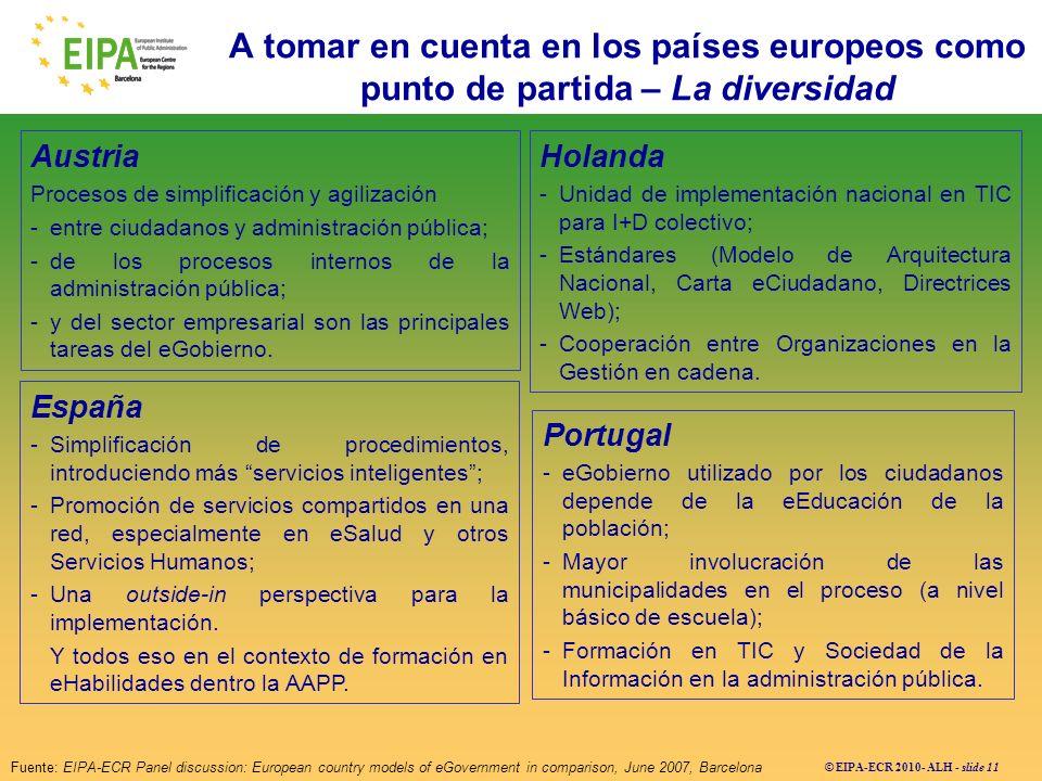 A tomar en cuenta en los países europeos como punto de partida – La diversidad