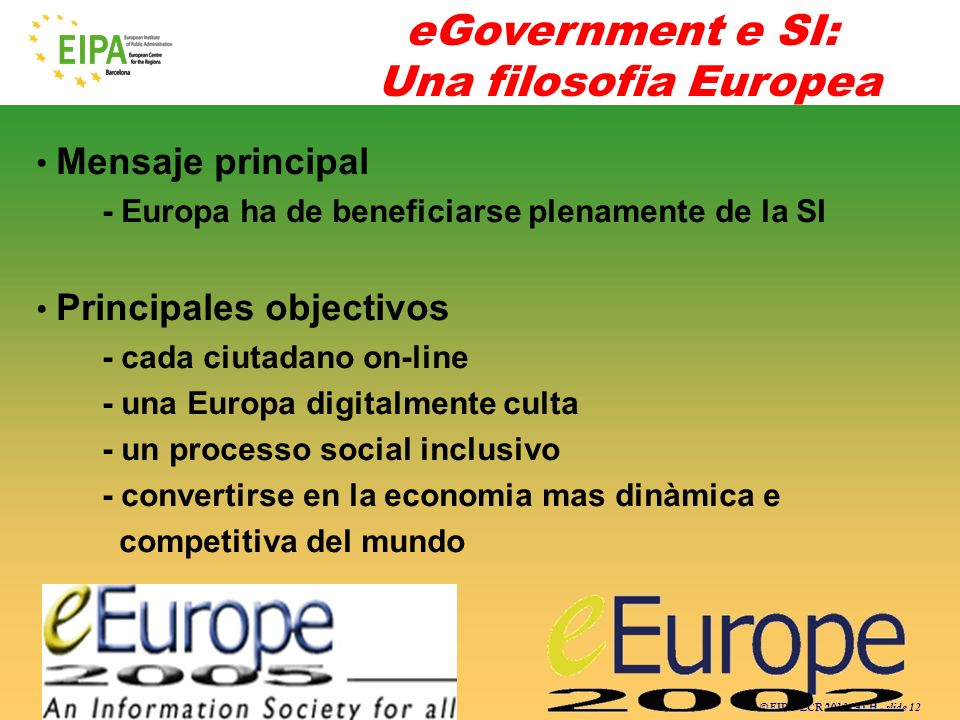 eGovernment e SI: Una filosofia Europea