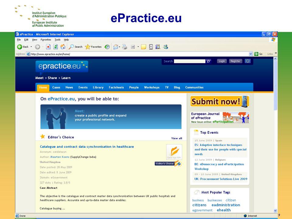 ePractice.eu screenshot © EIPA-ECR 2009 - ALH - slide 19