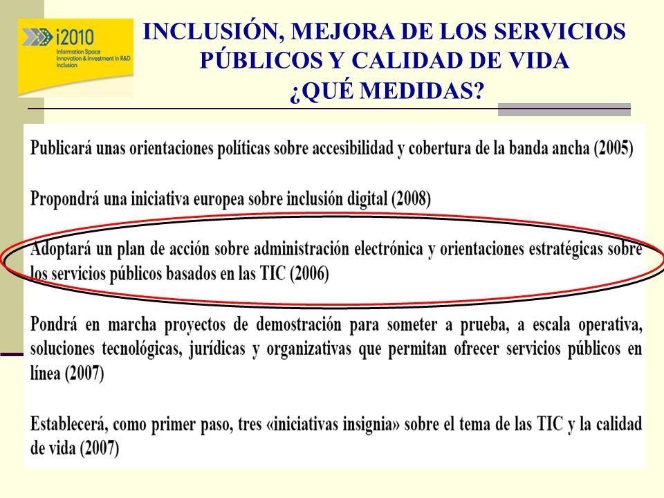 INCLUSIÓN, MEJORA DE LOS SERVICIOS PÚBLICOS Y CALIDAD DE VIDA ¿QUÉ MEDIDAS