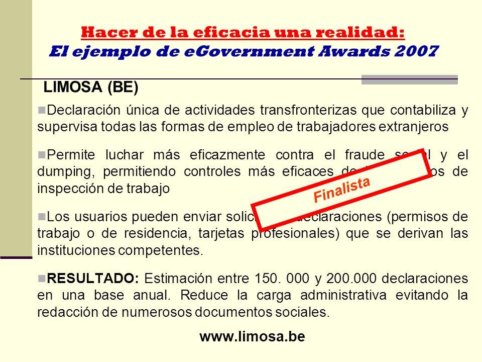 Hacer de la eficacia una realidad: El ejemplo de eGovernment Awards 2007