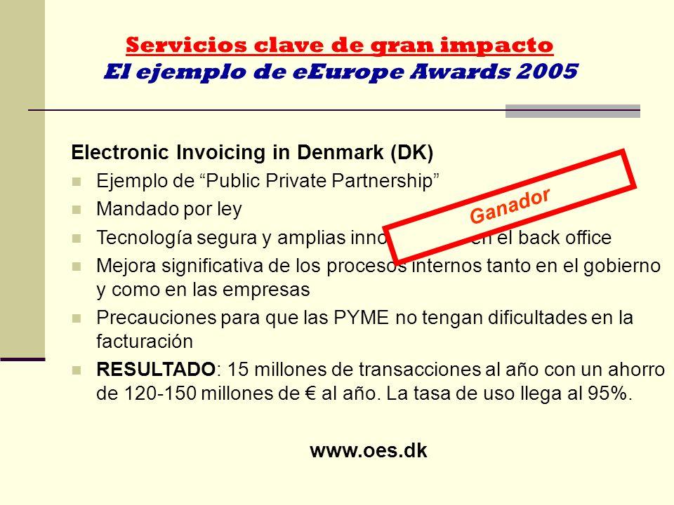 Servicios clave de gran impacto El ejemplo de eEurope Awards 2005