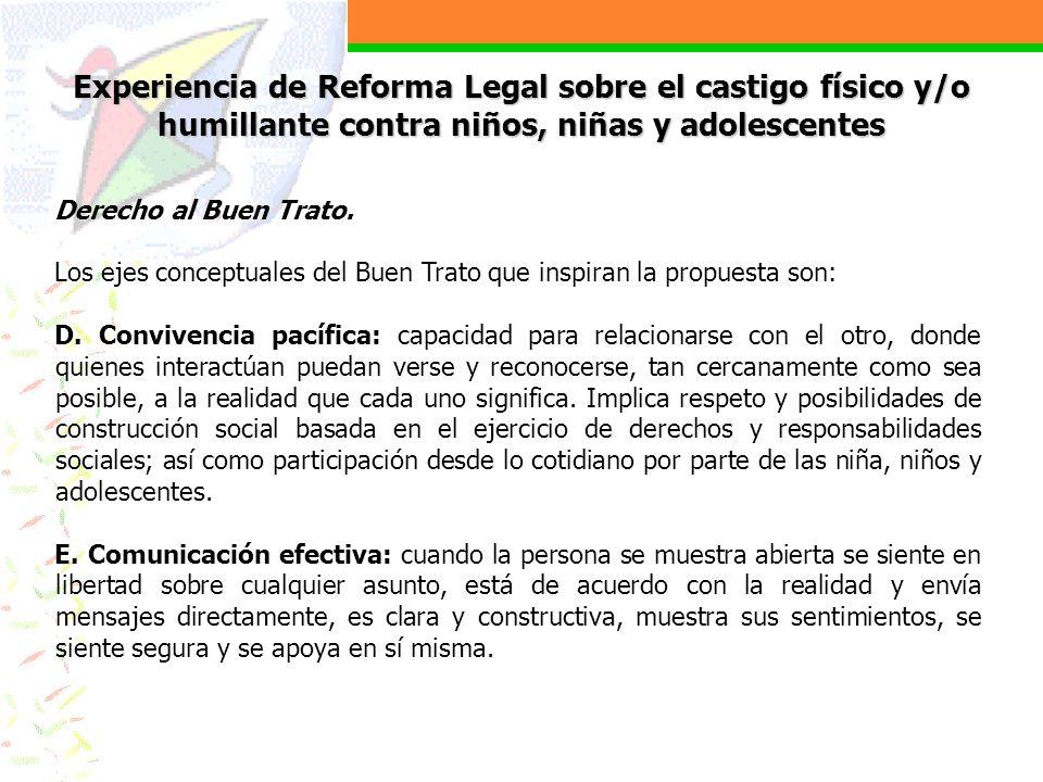 Experiencia de Reforma Legal sobre el castigo físico y/o humillante contra niños, niñas y adolescentes