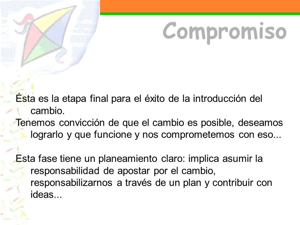 Compromiso Ésta es la etapa final para el éxito de la introducción del cambio.