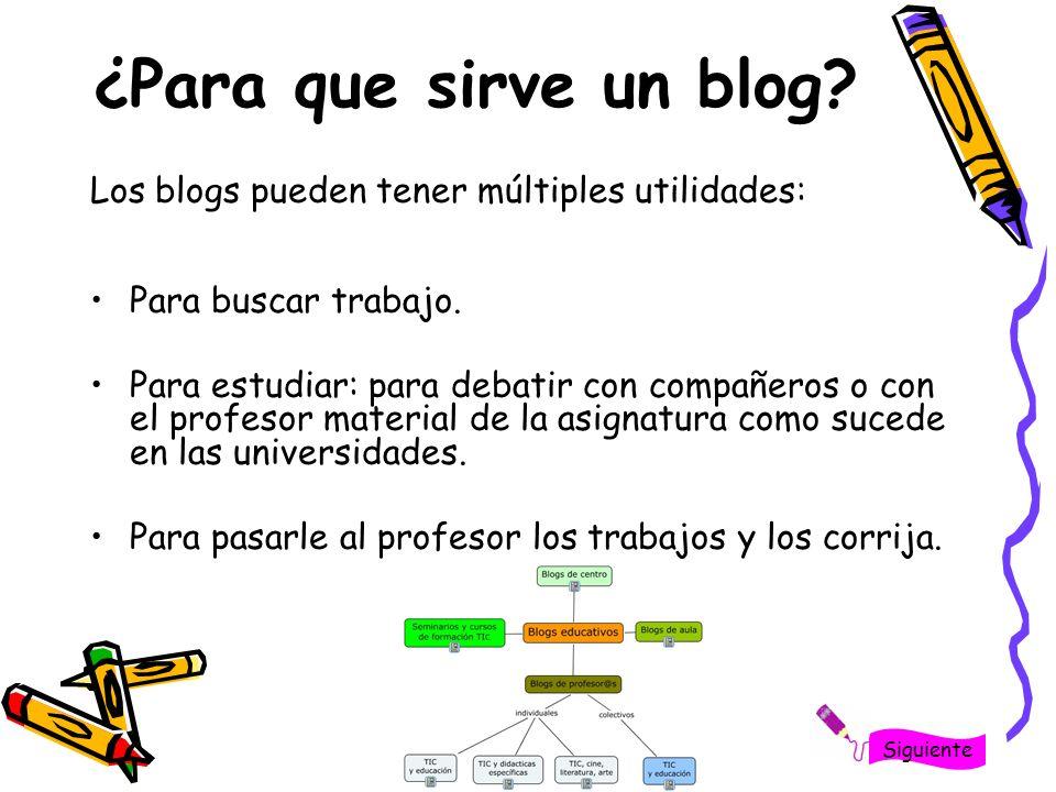 ¿Para que sirve un blog Los blogs pueden tener múltiples utilidades: