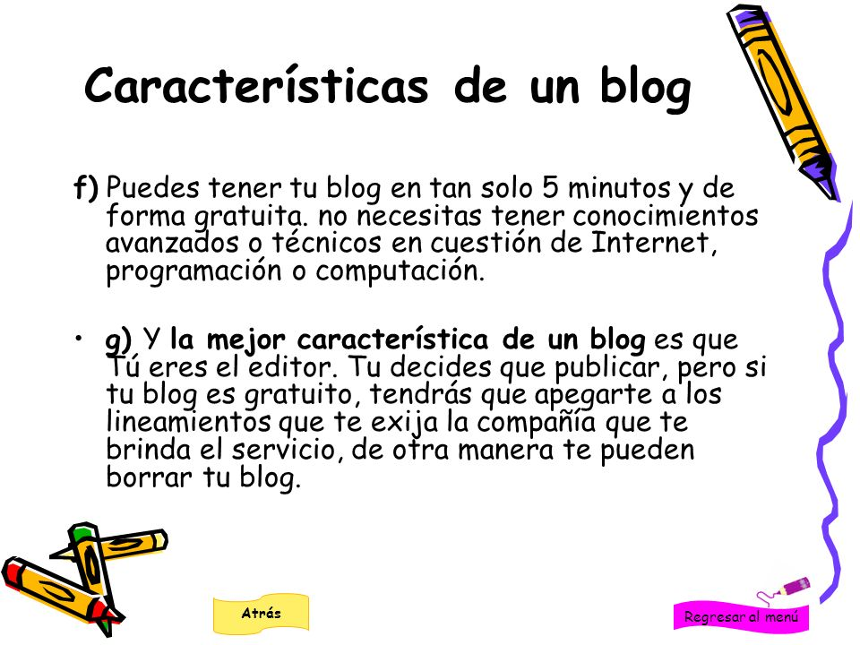 Características de un blog