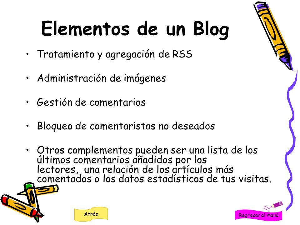 Elementos de un Blog Tratamiento y agregación de RSS