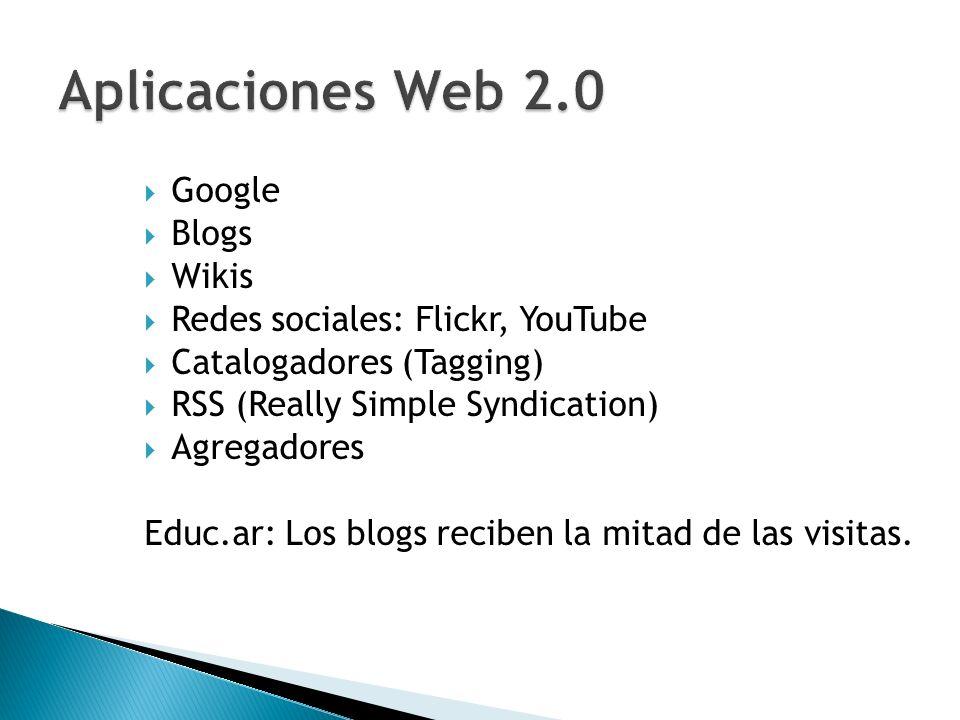 Aplicaciones Web 2.0 Google Blogs Wikis