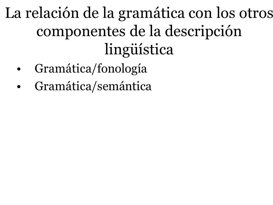 La relación de la gramática con los otros componentes de la descripción lingüística