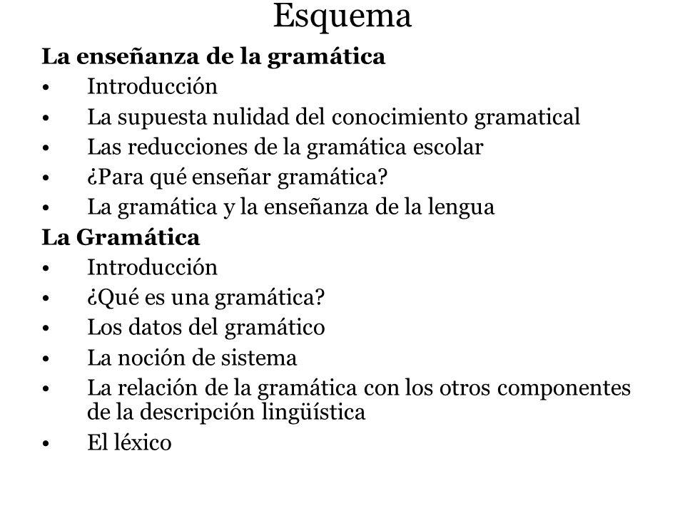 Esquema La enseñanza de la gramática Introducción