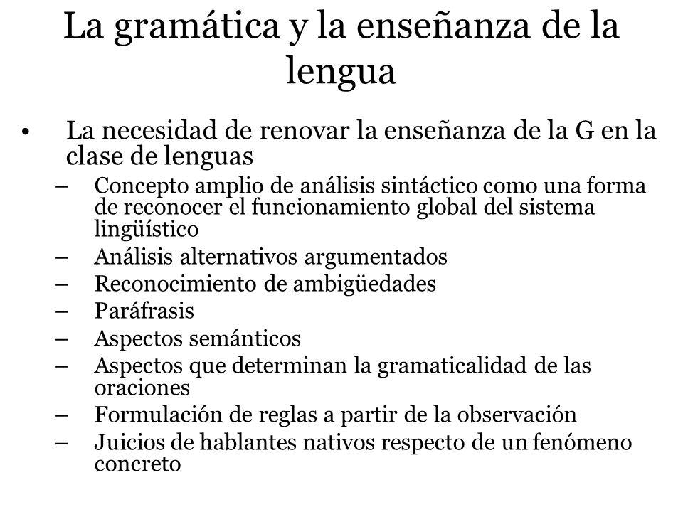 La gramática y la enseñanza de la lengua