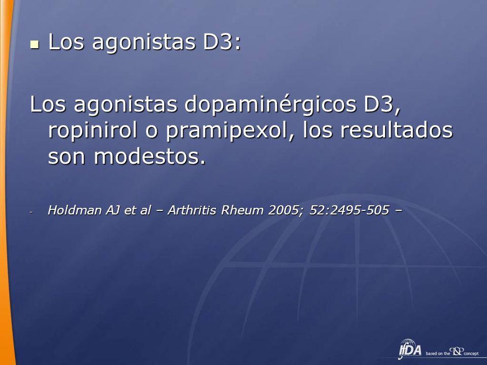 Los agonistas D3: Los agonistas dopaminérgicos D3, ropinirol o pramipexol, los resultados son modestos.