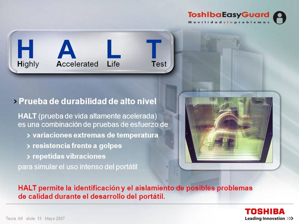 H A L T Prueba de durabilidad de alto nivel Highly Accelerated Life