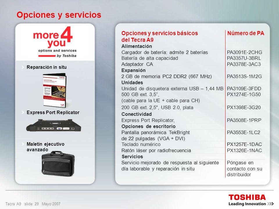 Opciones y servicios Número de PA