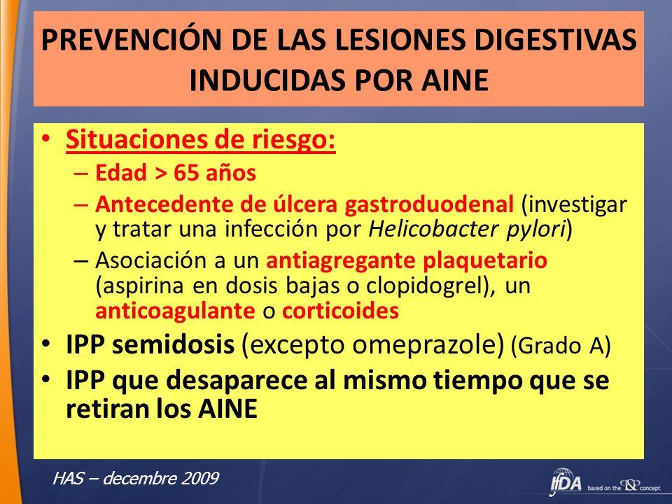 PREVENCIÓN DE LAS LESIONES DIGESTIVAS INDUCIDAS POR AINE