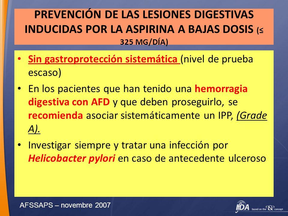 PREVENCIÓN DE LAS LESIONES DIGESTIVAS INDUCIDAS POR LA ASPIRINA A BAJAS DOSIS (≤ 325 MG/DÍA)