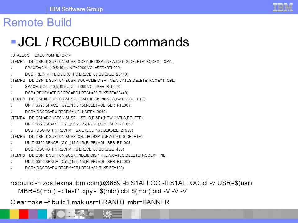 JCL / RCCBUILD commands