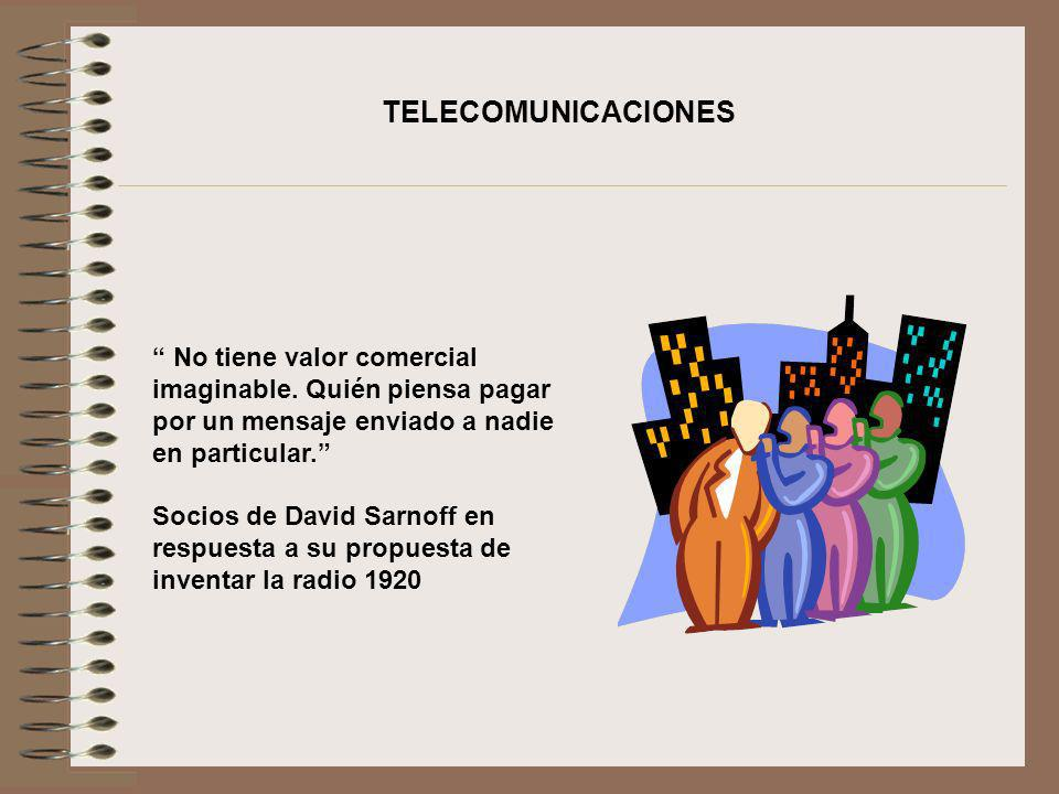TELECOMUNICACIONES No tiene valor comercial imaginable. Quién piensa pagar por un mensaje enviado a nadie en particular.