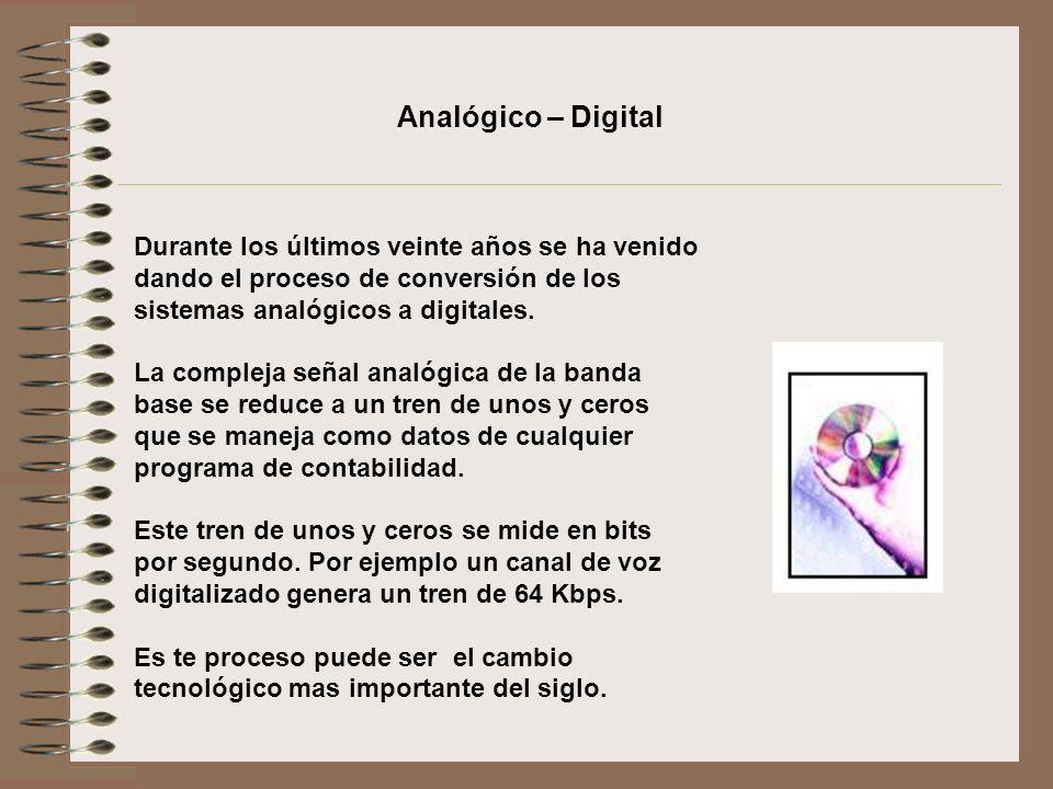 Analógico – Digital Durante los últimos veinte años se ha venido dando el proceso de conversión de los sistemas analógicos a digitales.