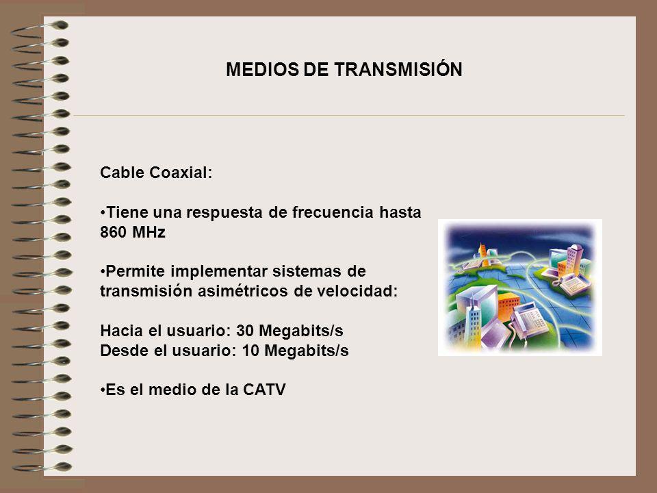 MEDIOS DE TRANSMISIÓN Cable Coaxial:
